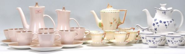 A collection of vintage bone china tea sets to include an Art Deco Burleigh ware tea set having