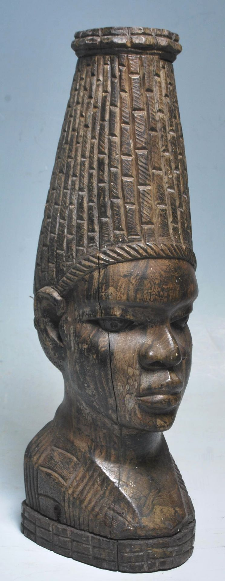 Los 199 - A 20th Century large African tribal well-carved hard-wood bust of a Nigerian woman with strong...