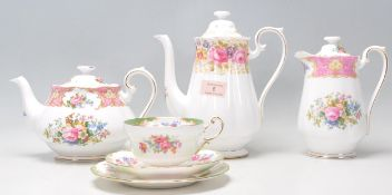 A collection of vintage English bone china items to include a Royal Albert Serena pattern coffee