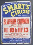 RARE ORIGINAL 1960'S BILLY SMART'S CIRCUS ADVERTISING POSTER