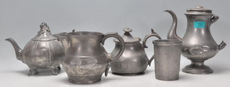 A collection of Georgian pewter ware to include a