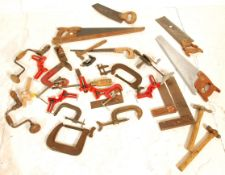 A group of vintage wood working tools with some da