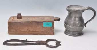 A collection of antique items to include a carved