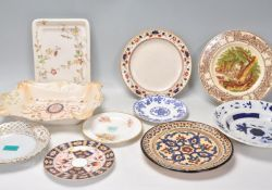 A mixed group of English china cabinet plates and