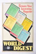 MID CENTURY TIN PLATE SHOP ADVERTISING SIGN FOR WORLD DIGEST