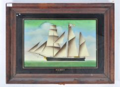 19TH CENTURY OIL PAINTING ON GLASS OF THE YACHT ' FANNY '