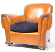 ANTIQUE 1930'S ART DECO LEATHER CLUB / CHESTERFIELD ARMCHAIR