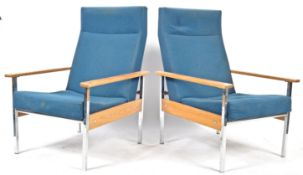 PAIR 1970'S RETRO OAK AND CHROME EASY LOUNGE ARMCHAIRS