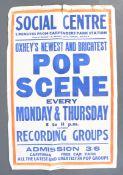 RARE ORIGINAL 1960'S ' POP SCENE ' CONCERT POSTER