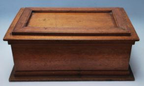 An early 20th century antique oak Bible box - chest having and oversized hinged lid opening to