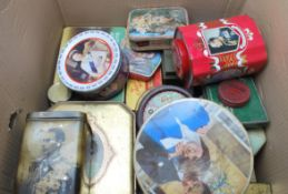 A large collection of vintage mid 20th century advertising tins, biscuits tins, to include some