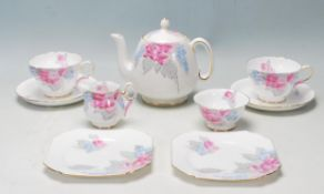 A vintage Art Deco 1930's Shelley bone china tea set / service / tea for two breakfast set being