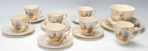 A vintage 1930s fine bone china 21 piece tea service in the Crinoline Lady pattern by J. Fryer &