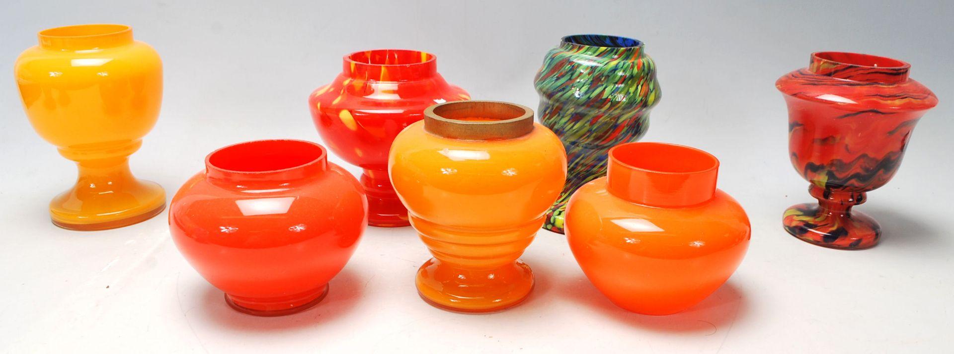 Los 17 - A collection of nine vintage 20th Century Czechoslovakian studio art glass vases in orange, blue