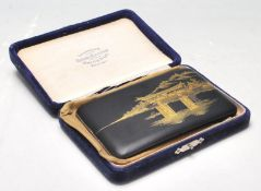 An early 20th Century Japanese Taisho Period Damascene gold inlaid cigarette / cheroot case