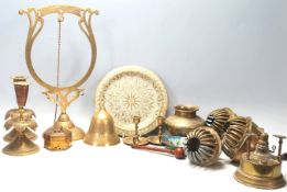 An excellent collection of vintage Persian brass items two pair of the brass candlesticks with