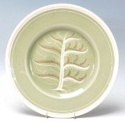 """Art Deco Susie Cooper """" tree of life """" cabinet plate with green colour background white rim and tree"""