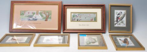 A mixed group of framed and glazed Cash's silk woven miniature pictures / cards to include 'Rolls