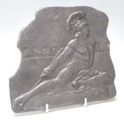 A good 20th Century heavy lead plaque depicting the death of Achilles with an arrow in his heel
