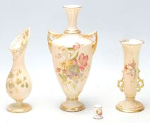 Group of Three Royal Worcester blush ivory vases, hand painted with flowers and gilded decoration,