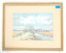 Michael Long -  A watercolour painting depicting a hunting scene in the countryside with a single