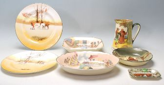 A group of Royal Doulton china series ware to include an Under the Greenwood tree jug, The Fat Boy