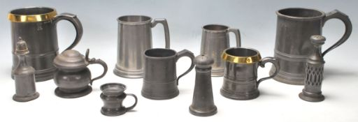 An excellent collection of 18th and 19th Century pewter tankards and pewter pepperette. measures