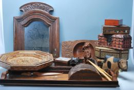 An extensive collection of vintage 20th Century wooden jewellery boxes, wooden trays with hand