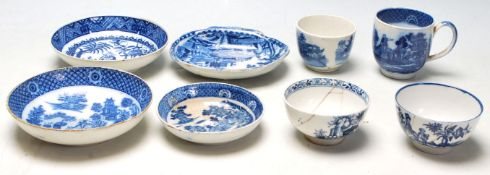 A good collection of 19th century or later English blue and white Chinese ceramics to include