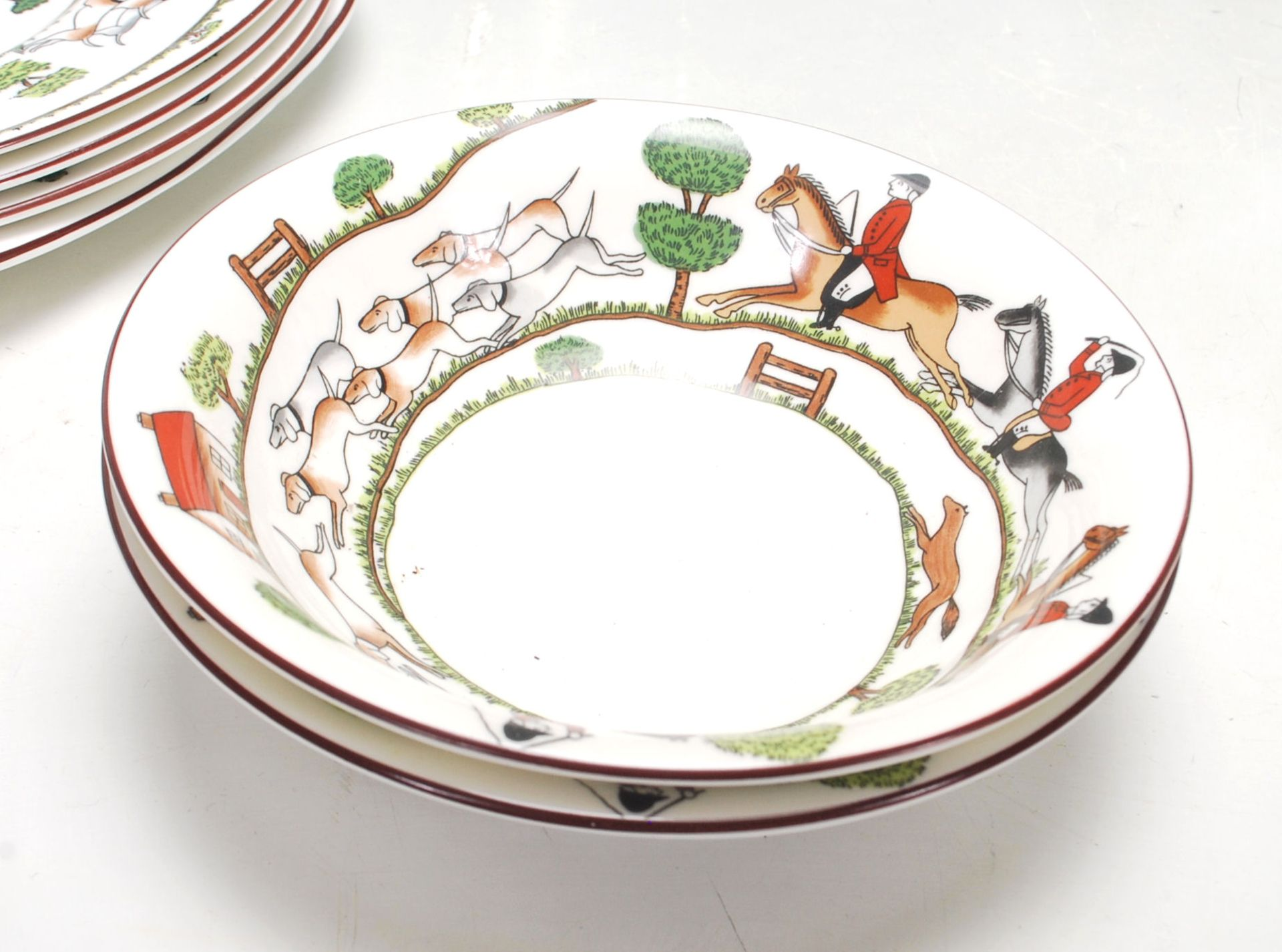 "Los 13 - A vintage 20th Century Crown Staffordshire "" Hunting Scene "" fine bone china part dining set"