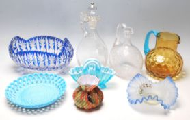 A collection of 19th century and later Victorian glass to include Mary Gregory enamelled glass