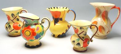 A group of five vintage 1930's Art Deco ceramic jugs to include three Czechoslovakian by Ditmar