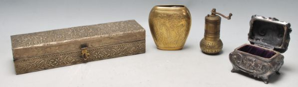 A collection of 20th Century metal wares to include a rectangular shaped Chinese artists box with