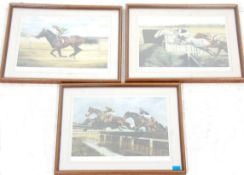 After David French - A set of 3x signed racing prints featuring Shergar, Desert Orchid and The Water