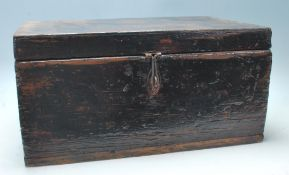 A 19th Century Victorian antique wooden strong box having a hinged lid with cast metal swing handles