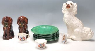 A quantity of antique 19th Century ceramics comprising of a Staffordshire mantle dog together