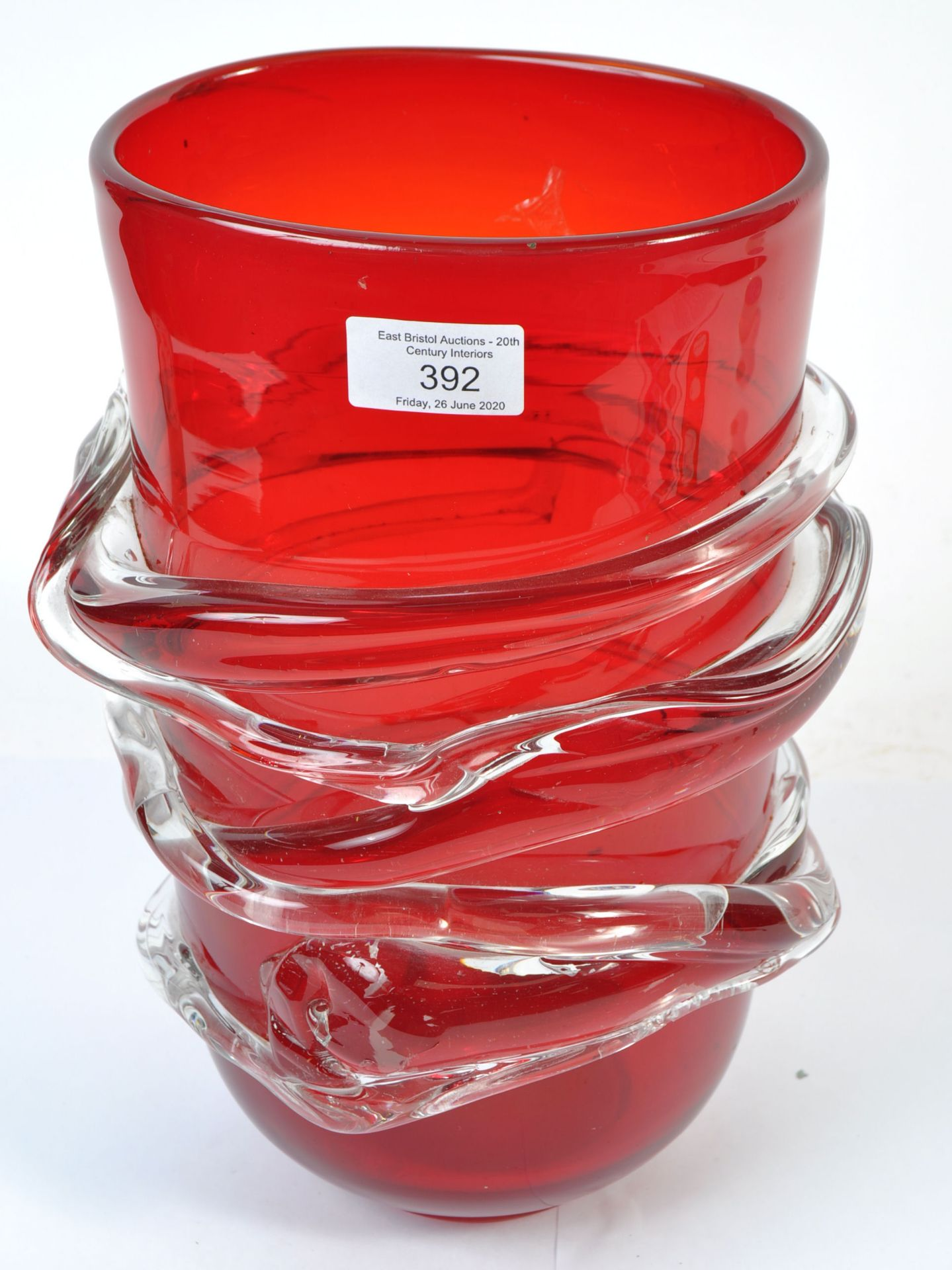 Los 8 - MANNER OF BARNABY POWELL FOR WHITEFRIARS GLASS - RED VASE