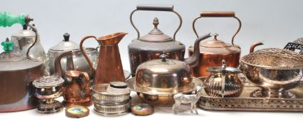 A collection of 19th and 20th Century brass and metal wares to include a selection of Victorian