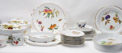 A vintage Royal Worcester Evesham fruit pattern fine bone china dinner service to include plates,