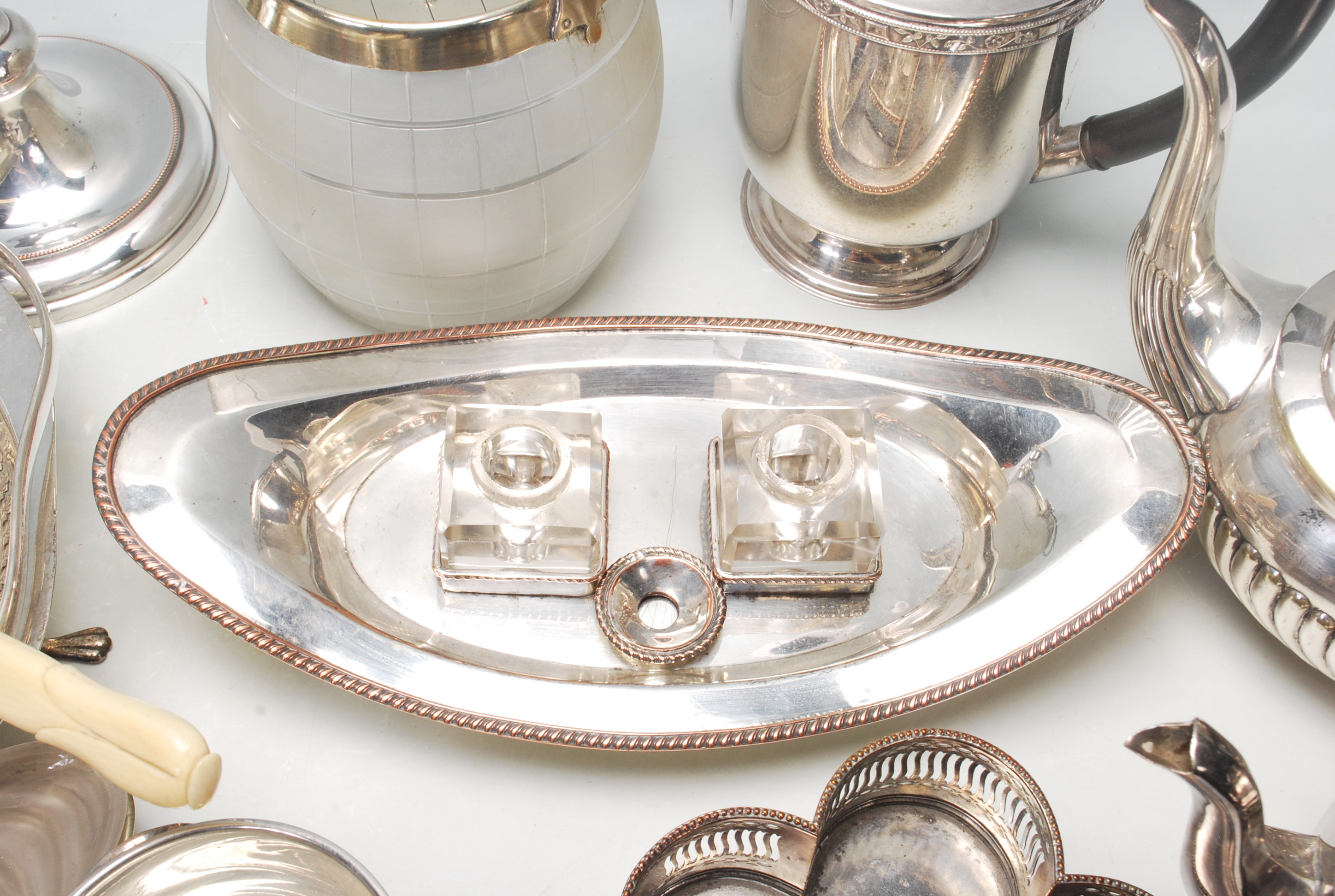 Lot 690 - A good collection of 20th century antique silver plated items to include Sheffield plated inkstand