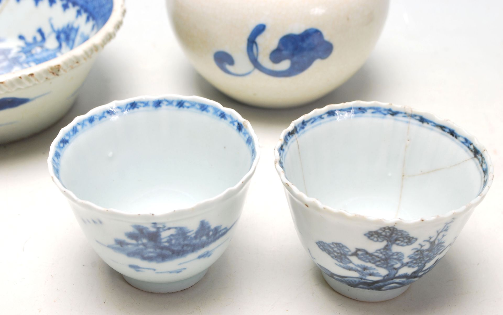 Los 101 - Aquantityof 19th century English blue and white ceramics to include bowl, tea cup, rice bowl and