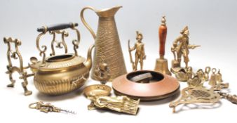 A collection of antique 19th and 20th century brass ware to include a Joseph Sankey & Sons alligator