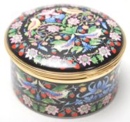 "A vintage Halcyon Days Enamels musical box has decoration after "" The Strawberry Thief "" by"