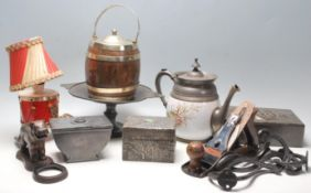 A good collection of 20th century items to include a vintage metalware arts and crafts boxes, tea