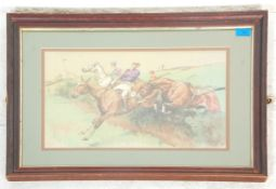 """M Dorothy Hardy - """"A Dangerous Competitor """". A horse racing print in the manner of Cecil Aldin."""