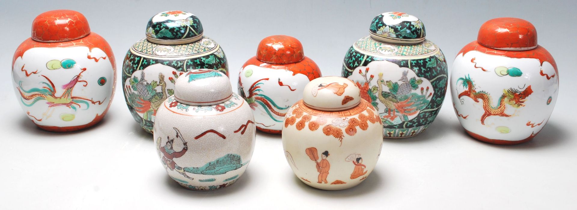 Los 105 - A collection of seven 20th Century Chinese porcelain ginger jars to include two famille verte floral
