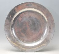 A large antique 18th century circa 1795 pewter charger / plate by W. T. Wiltshire of Bristol City
