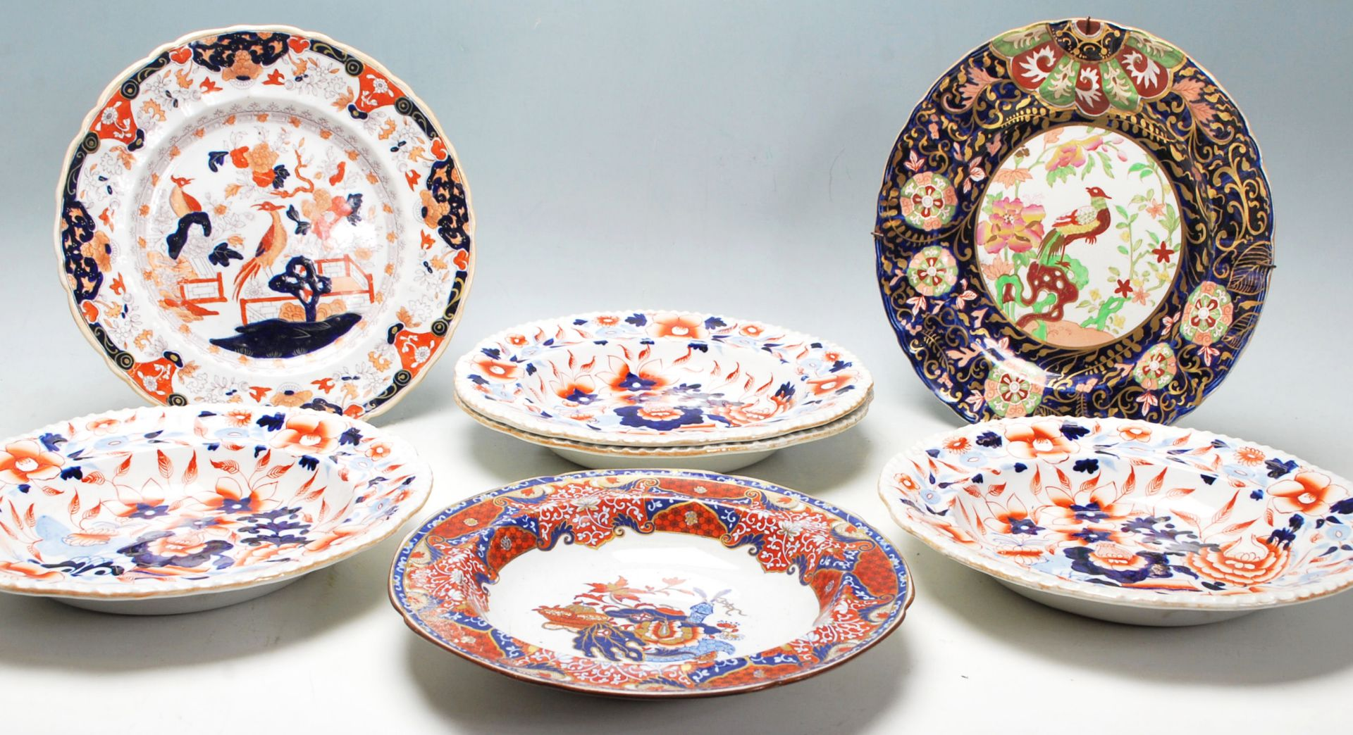 Los 9 - A group of 7x 19th Century Georgian and Victorian ironstone plates to include four Imari dishes, a