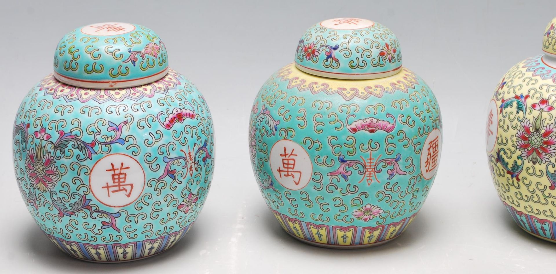 Los 140 - A group of 20th Century Chinese ginger jars to include six blue enamelled jars with scrolled