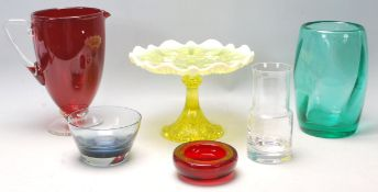 A good collection of 20th Century mixed glass to include Vaseline uranium glass tazza, Whitefriars